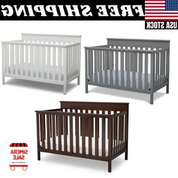 4 in 1 Baby Crib Bed Convertible Nursery Portable Toddler Fu