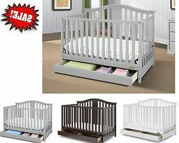 4 IN 1 CONVERTIBLE BABY CRIB DRAWERS Toddler Day Full Childr