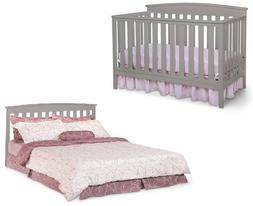 4 In 1 Convertible Baby Crib Toddler Kids Nursery Wood Bed F