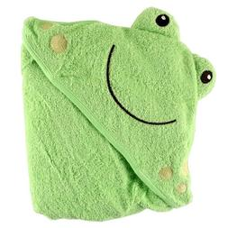 Luvable Friends Animal Face Hooded Woven Terry Baby Towel, F