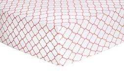 Trend Lab Quatrefoil Deluxe Flannel Fitted Crib Sheet, Coral