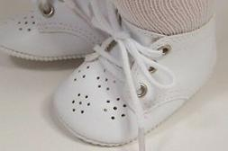 """WHITE Toddler-Baby Doll Shoes For 15"""" Bitty Baby Boy or Girl"""
