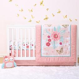 Aflutter 4-Piece Butterfly and Flowers Baby Crib Bedding Set
