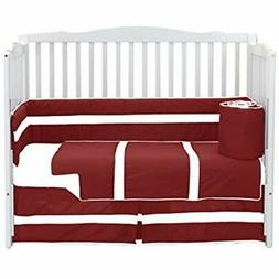 Baby Bedding Sets Doll Solid Stripe Crib 4 Piece Set, Red/Wh
