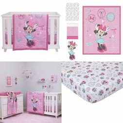 Baby Crib Bedding 4 Piece Comforter Sheet Set Minnie Mouse P