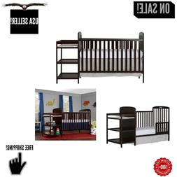 Baby Crib With Mattress 4-in-1 Full Size Changing Table Comb