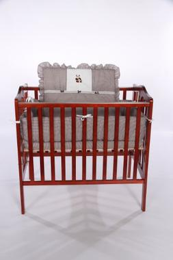 Baby Doll Bedding Gingham with Bear Applique Mini Crib/ Port