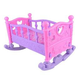 Baby Doll Rocking Bed Toy Crib Infant Carriage Gift Role Pla