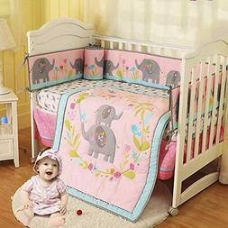 Brandream Baby Girl Crib Bedding Sets with Bumper Pad Pink F