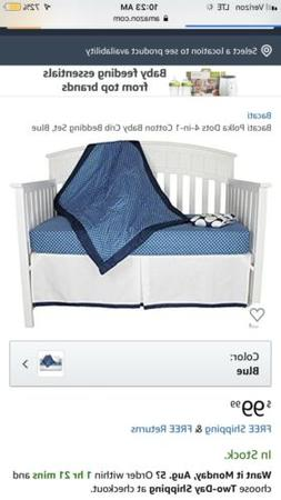 Blue Polka Dots  4-in-1 100% Cotton Baby Crib Bedding Set by