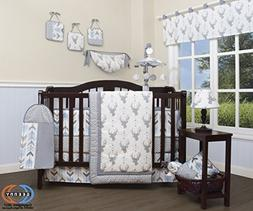 GEENNY 13 Piece Boutique Baby Nursery Crib Bedding Set, Wood