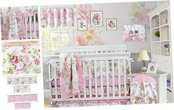 Brandream Pink Baby Girls Crib Bedding Sets with Bumpers Blo