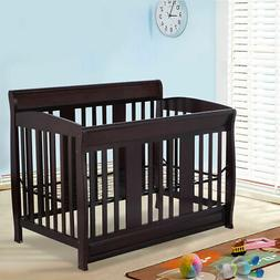 Coffee Pine Wood Baby Toddler Bed Convertible Crib Nursery F