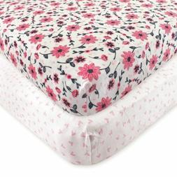 Hudson Baby 2 Piece Cotton Fitted Crib Sheet, Botanical, One
