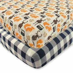 Hudson Baby 2 Piece Cotton Fitted Crib Sheet, Forest, One Si