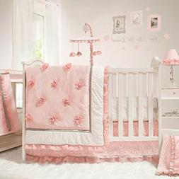 The Peanut Shell Baby Girl Crib Bedding Set - Pink and White