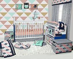Bacati - Emma Aztec Coral/Mint/Navy 10 pc Crib Set with 2 cr