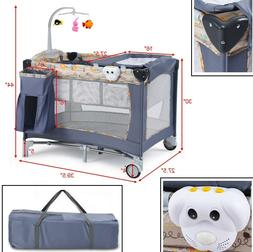 Folding Baby Crib Travel Infant Cot Playpen With Toys Portab