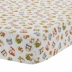 friendly forest woodland fitted crib sheet green