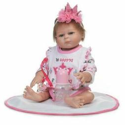 Full Silicone Reborn Baby Doll Lifelike Soft Vinyl With Clot
