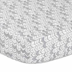 Grey and Silver Herringbone Fitted Crib Sheet by The Peanut