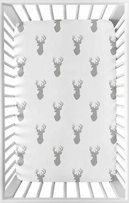 Sweet JoJo Designs Grey Stag Baby Fitted Mini Portable Crib