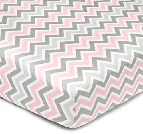 American Company 100% Cotton Crib Sheet for Standard and Mattresses, Zigzag