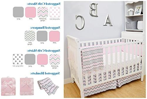 American Cotton Crib Sheet for Standard Crib and Mattresses, Pink Zigzag