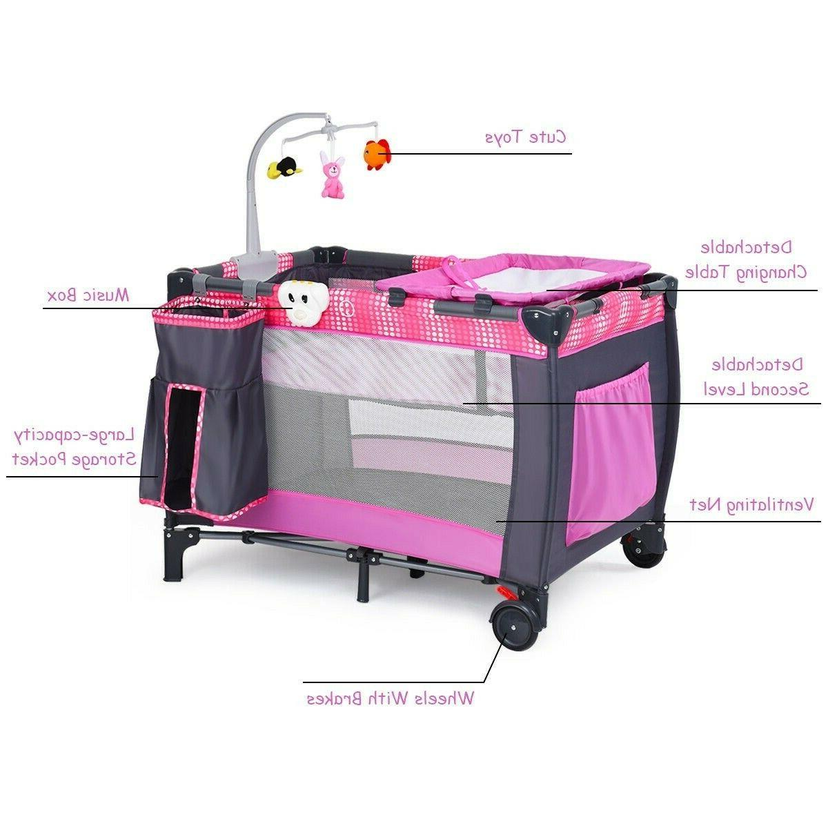 Baby Cot Travel Crib Infant With Toys Portable Bed Changer
