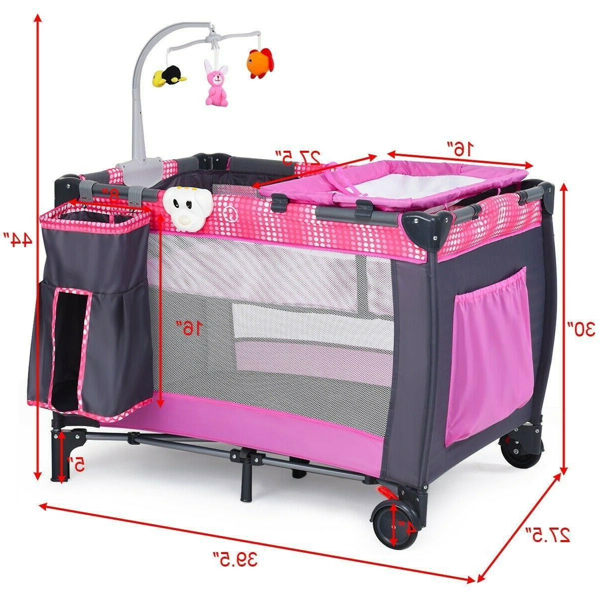 Baby Cot Travel Crib Infant Folding Toys Portable Bed Changer