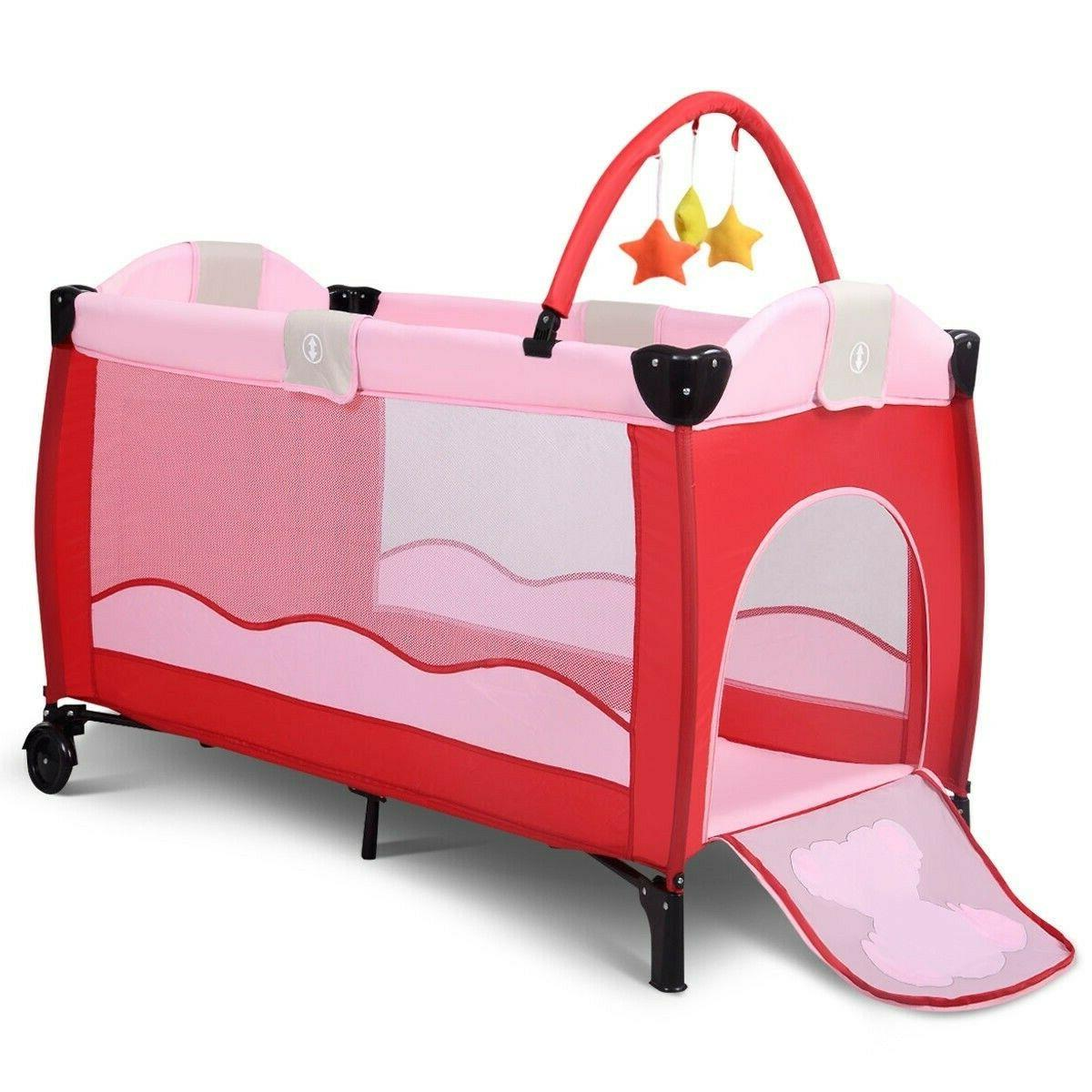 Baby Infant Foldable Bassinet Portable Playpen Nursery Table