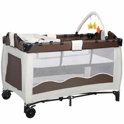 New Coffee Baby Crib Playpen Pack Infant Bassinet Bed