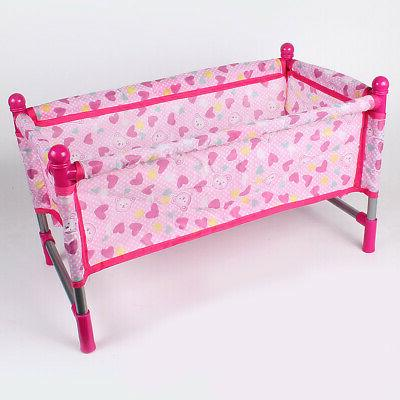 Doll Baby Toddler Bed Crib Play set for Kids Simulation Furn