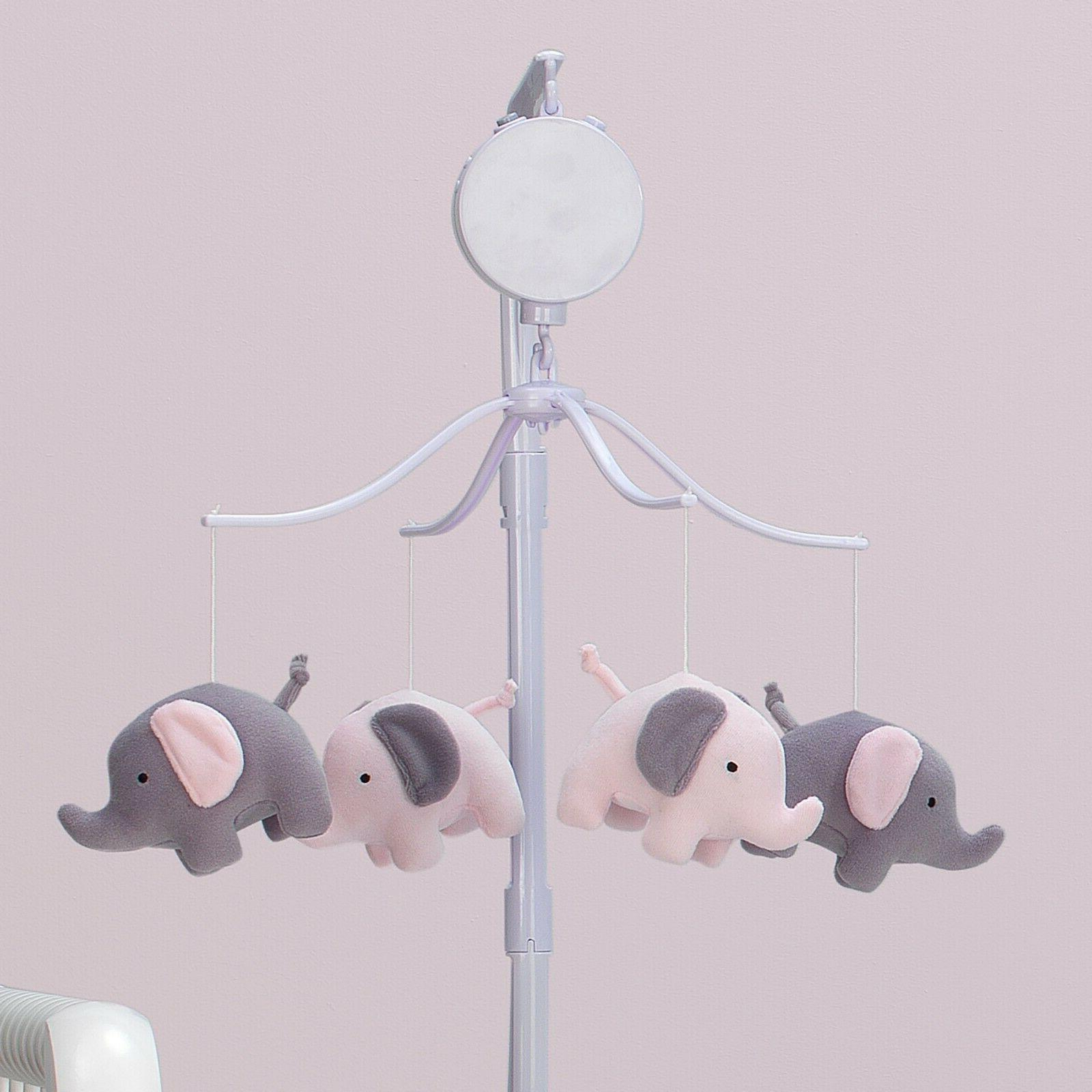 Eloise Pink/Gray Elephant Baby Mobile, Plays 20 3