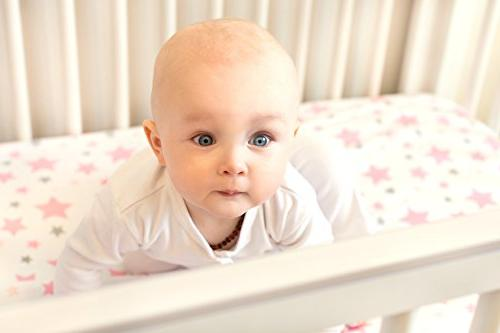 Best Organic Sheets for Girls, Adorable Fitted White and Sheet Washcloth Standard Crib's Mattresses Babies Soft!