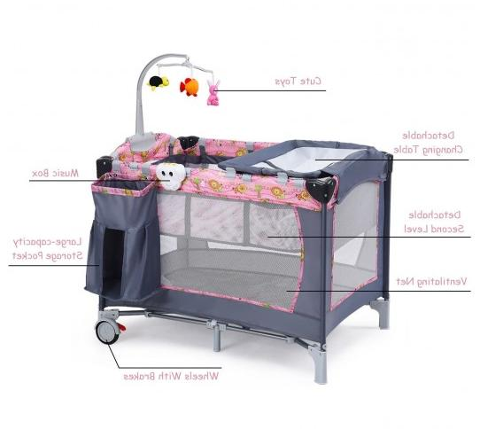 Folding Baby Infant Cot Playpen With Toys Bed Changer