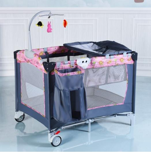 Folding Baby Crib Infant Cot Toys Portable pink Bed Changer