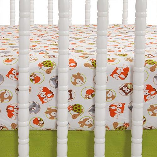 Bedtime Forest Woodland Crib Sheet, Green/Brown/White