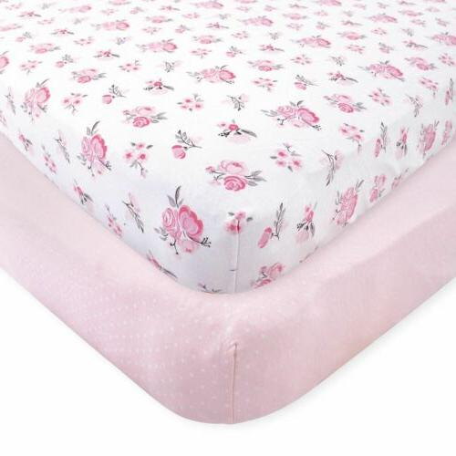 girl fitted crib sheets 2 pack pink