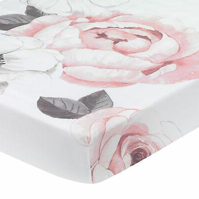 Lambs & Ivy Floral Garden Pink/White Watercolor Cotton Baby