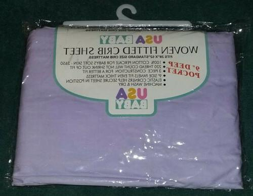 lavender woven fitted crib sheet 100 percent