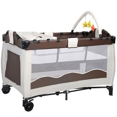 New Coffee Playpen Playard Infant Bed