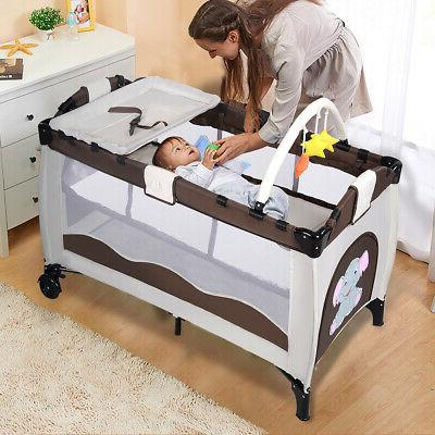 New Coffee Playpen Pack Infant Foldable