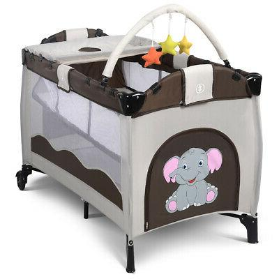 New Coffee Baby Playpen Playard Infant Bed Foldable