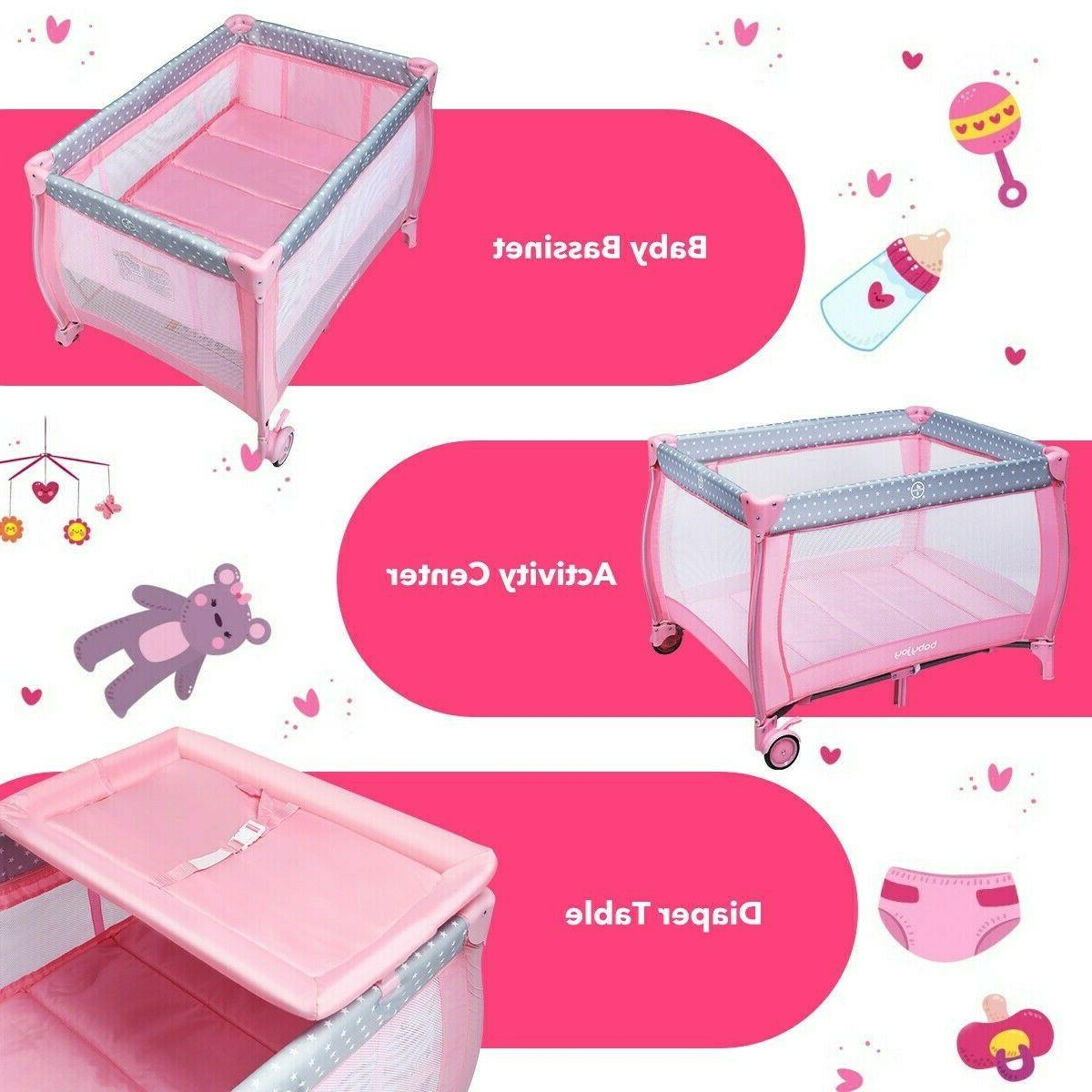Pink Portable Infant Changing Play