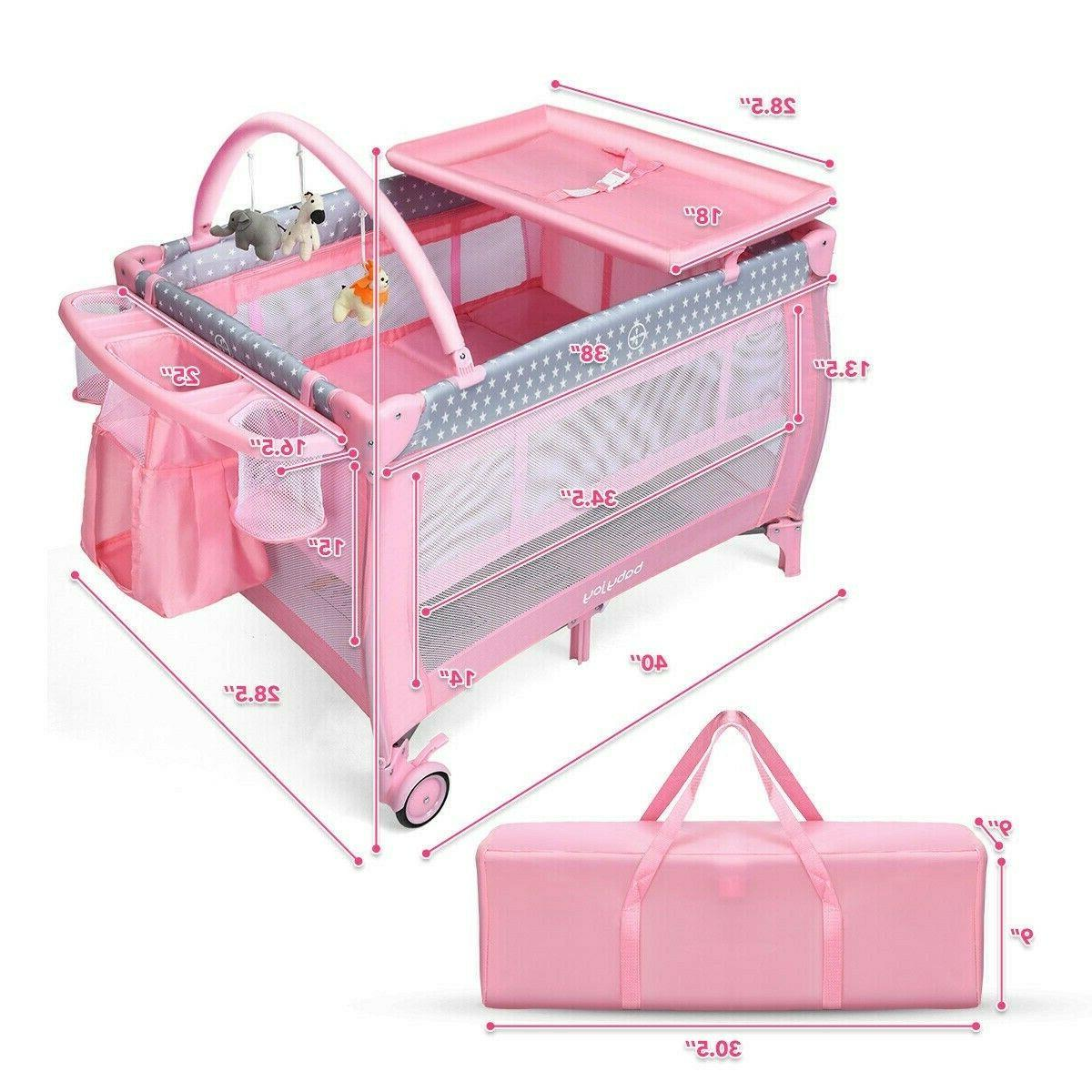 Pink Baby Crib Foldable Portable Infant Playard Changing Table Play Center