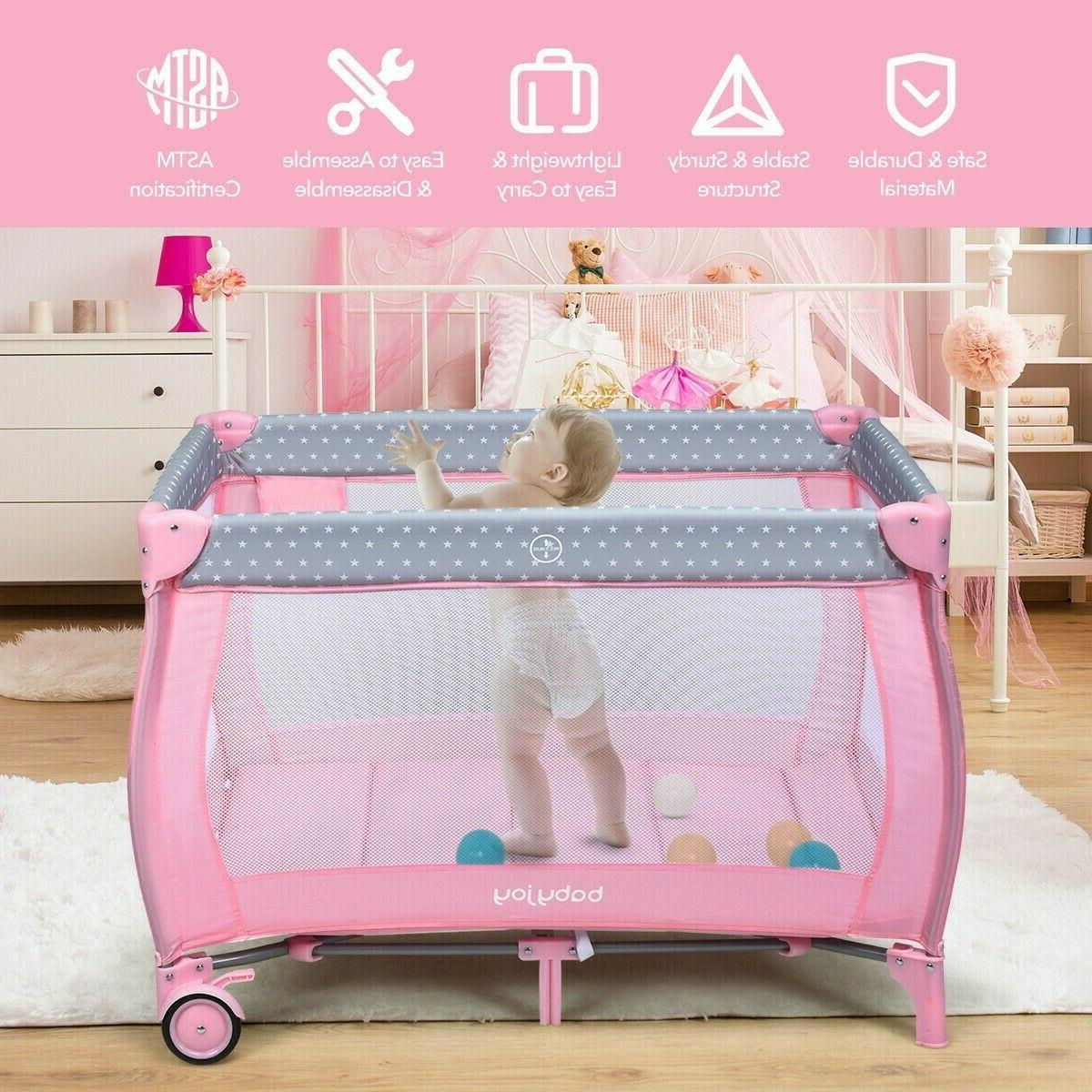 Pink Crib Foldable Portable Infant Changing Play