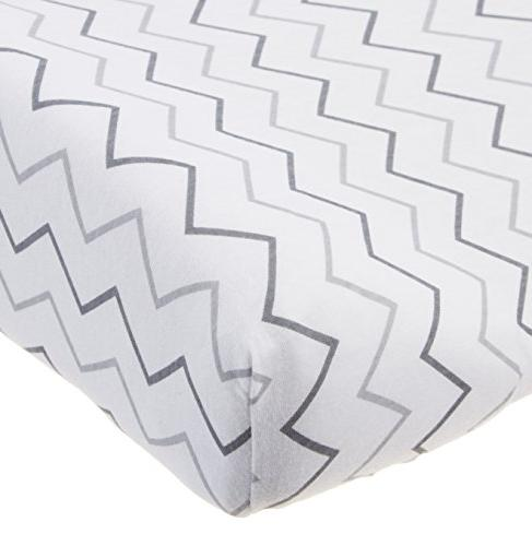 American Baby 100% Cotton Fitted Contoured Pad also with Grey Stars and