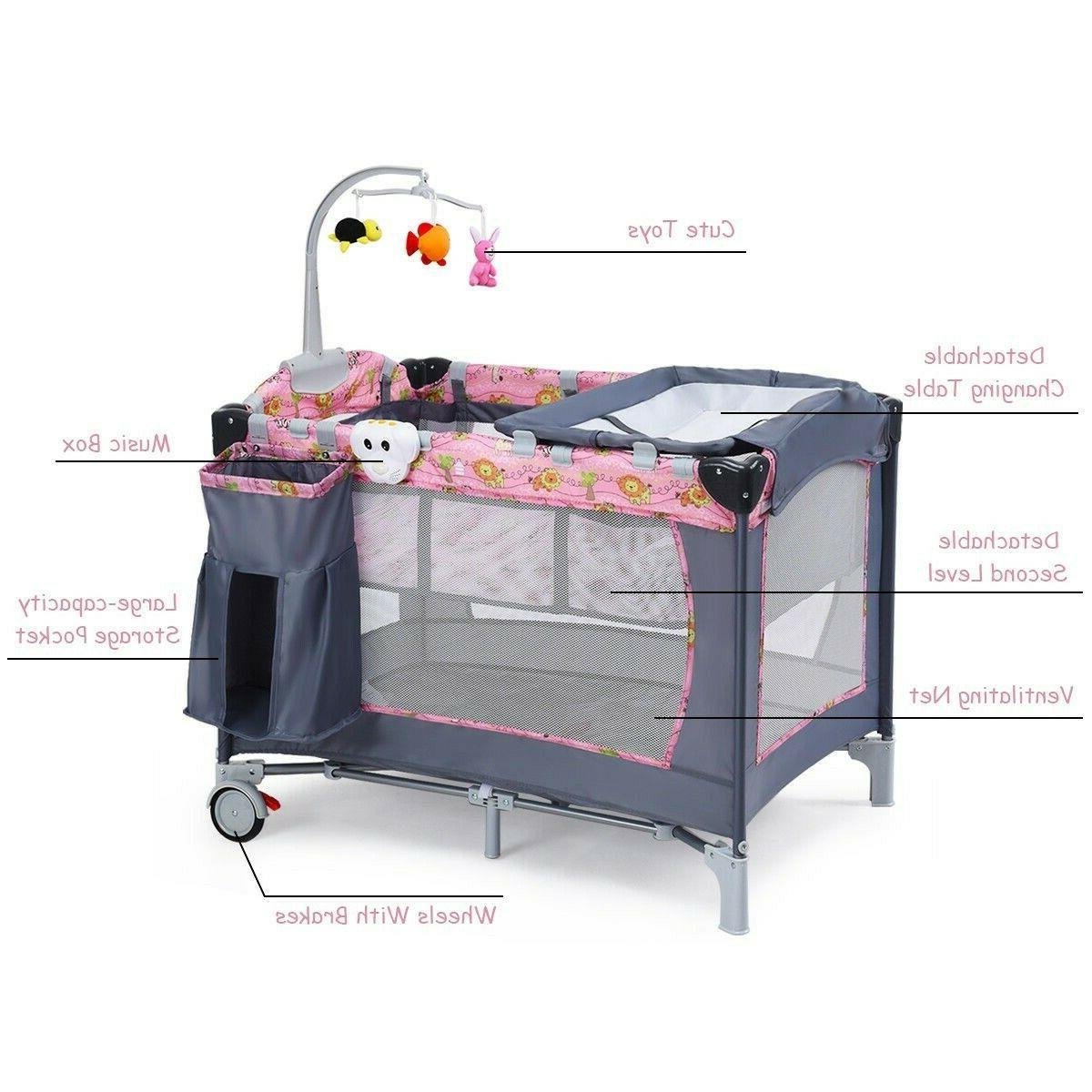 Travel Baby Folding Cot Playpen With Toys Portable Bed Changer