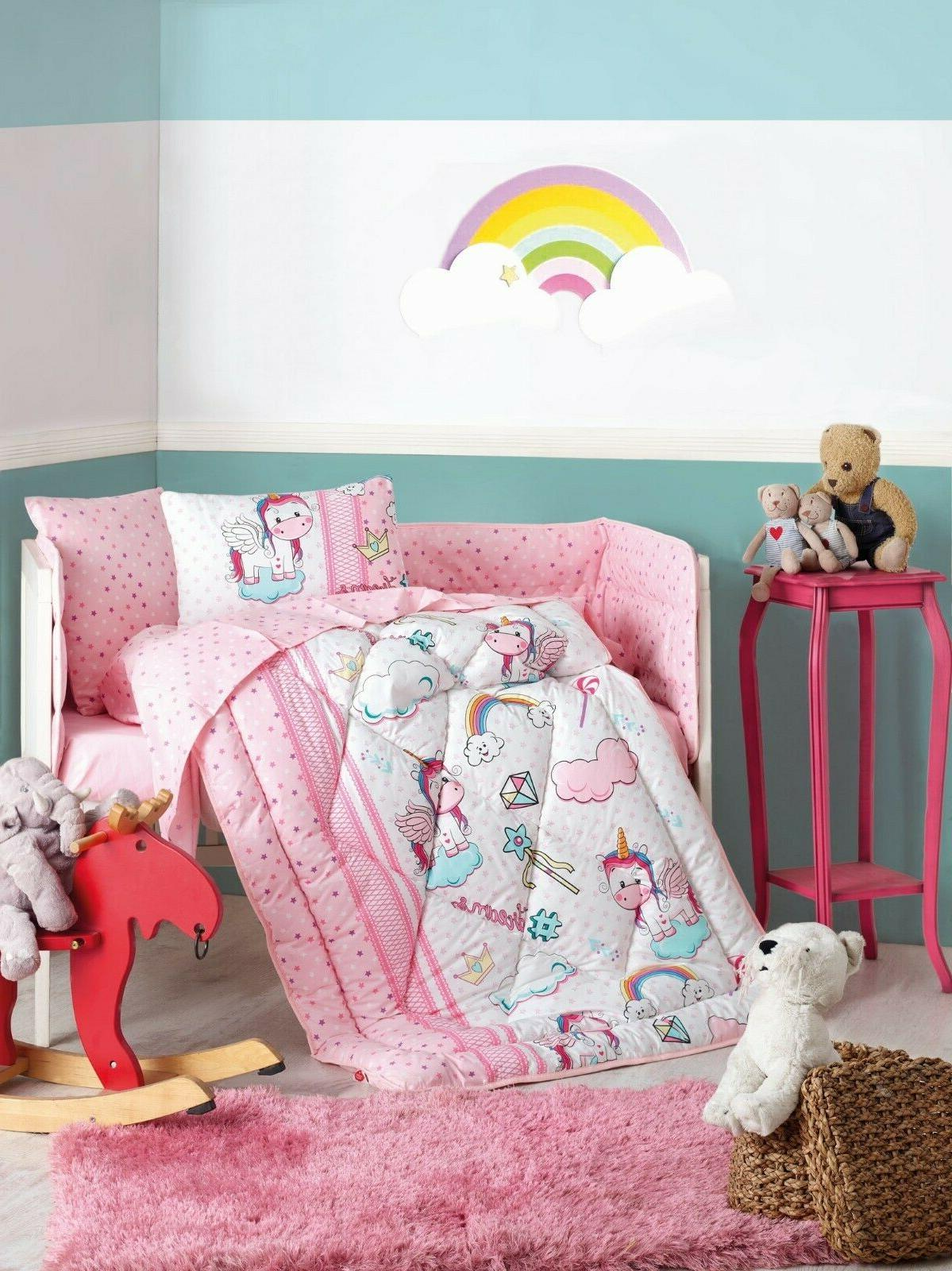 Unicorn 100% Crib Set Girls 6 Crib